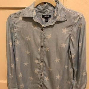 Long sleeve denim shirt with stars on it